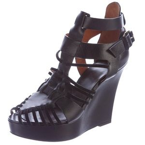 Givenchy Corinne Huarache Leather Sandal Wedges